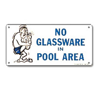Pool Safety Sign - No Glassware in Pool Area - 41332