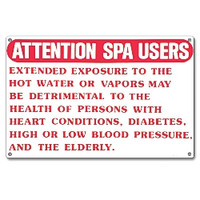Spa Safety Sign - Attention Spa Users - 40365