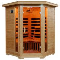 Sante Fe - Hemlock 3 Person FAR Infrared Sauna With Carbon Heaters - Corner Unit