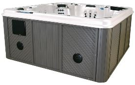Moonstone hot tub sound system in cabinet.