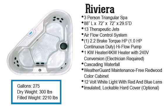 Riviera 3 person hot tub by QCA Spas and sold through Hot Tub Outpost