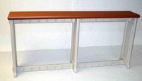 "Outdoor bar table 74"" long 12"" deep in redwood color"