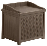 Deck box wicker seat