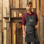 Premier Division Waded Look Denim Bib Apron with Faux Leather