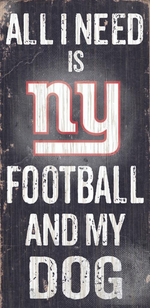 "New York Giants Wood Sign - Football and Dog 6""x12"""