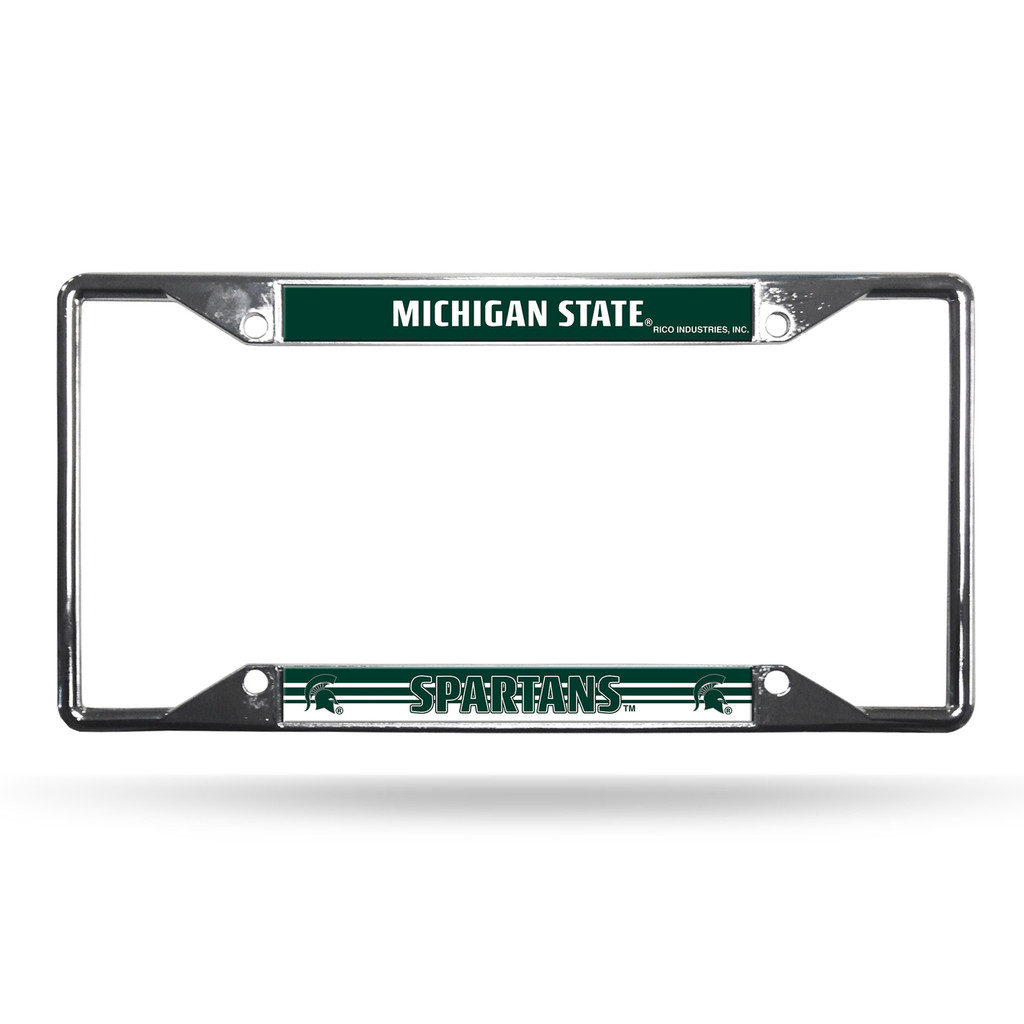 michigan state spartans license plate frame chrome ez view - Michigan State License Plate Frame