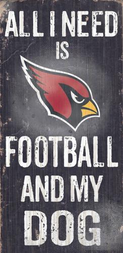 """Arizona Cardinals Wood Sign - Football and Dog 6""""x12"""""""
