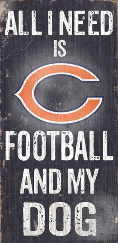 """Chicago Bears Wood Sign - Football and Dog 6""""x12"""""""