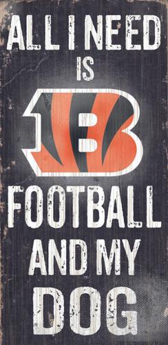 "Cincinnati Bengals Wood Sign - Football and Dog 6""x12"""