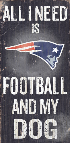 "New England Patriots Wood Sign - Football and Dog 6""x12"""
