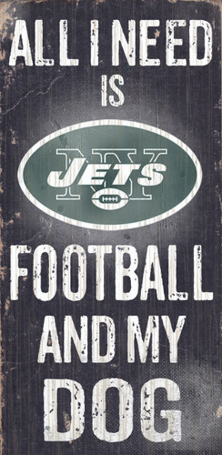 "New York Jets Wood Sign - Football and Dog 6""x12"""