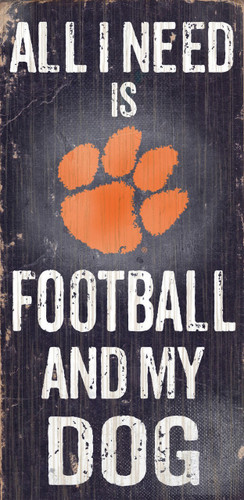 """Clemson Tigers Wood Sign - Football and Dog 6""""x12"""""""