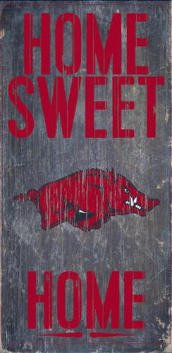 "Arkansas Razorbacks Wood Sign - Home Sweet Home 6""x12"""