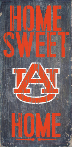 "Auburn Tigers Wood Sign - Home Sweet Home 6""x12"""