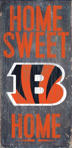 """Cincinnati Bengals Wood Sign - Home Sweet Home 6""""x12"""""""
