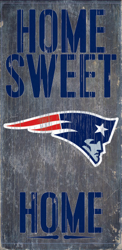 """New England Patriots Wood Sign - Home Sweet Home 6""""x12"""""""