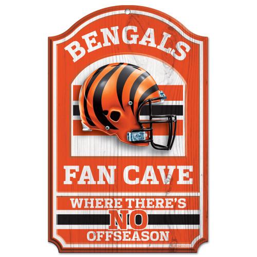 """Cincinnati Bengals Wood Sign - 11""""x17"""" Fan Cave Design"""