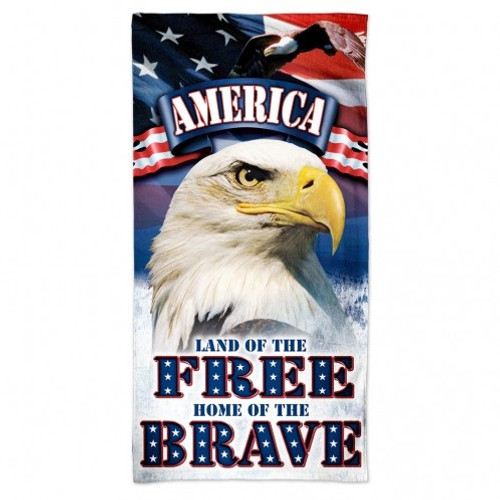 "America Beach Towel - 30""x60"" - Land of the Free Home of the Brave"