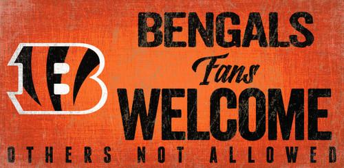 Cincinnati Bengals Wood Sign Fans Welcome 12x6