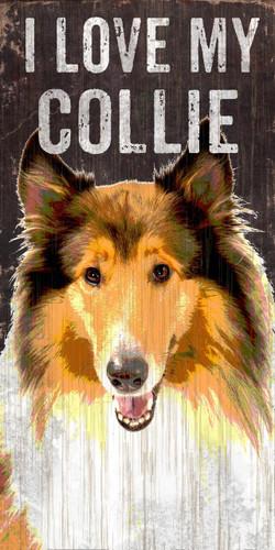 "Pet Sign Wood I Love My Collie 5""x10"""