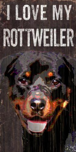 "Pet Sign Wood I Love My Rottweiler 5""x10"""
