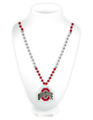 Ohio State Buckeyes Mardi Gras Beads with Medallion