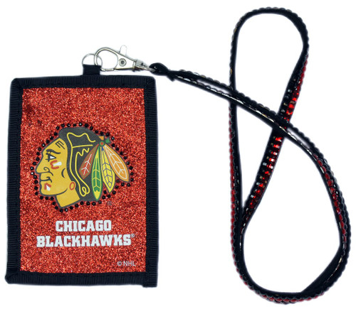 Chicago Blackhawks Beaded Lanyard Wallet