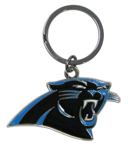 Carolina Panthers Chrome Logo Cut Keychain
