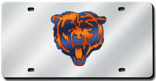 Chicago Bears Laser Cut Silver License Plate