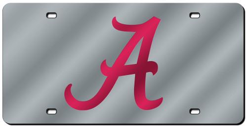 Alabama Crimson Tide Laser Cut Silver Script A License Plate