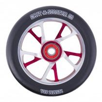Grit Bio Core Spoked Wheel - 125mm - Black on Silver/Red
