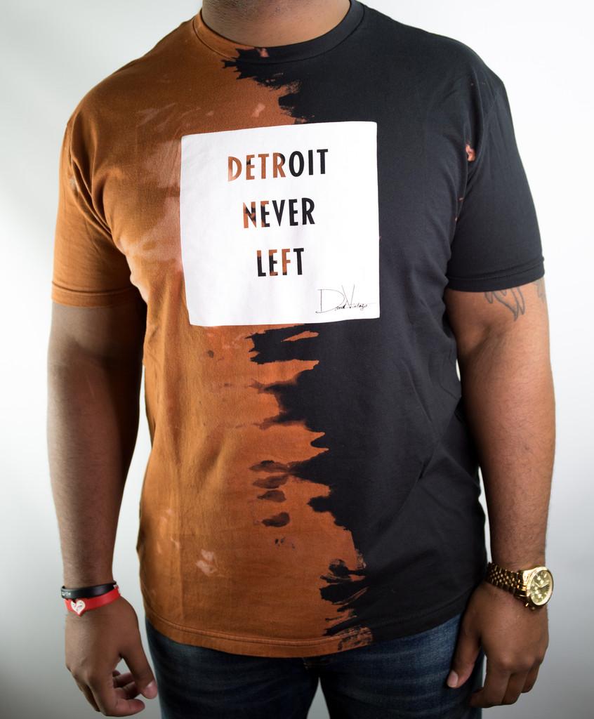 DETROIT NEVER LEFT™ HAND STAINED TEE – BLACK/WHITE