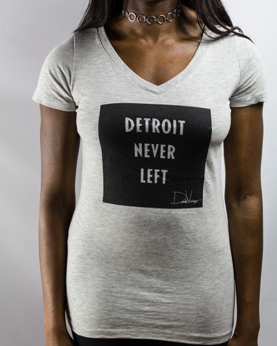 Detroit Never Left™ Wmns Vneck – Heather Grey/Black