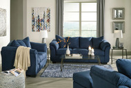 Darcy Blue Sofa, Loveseat, Chair & Ottoman
