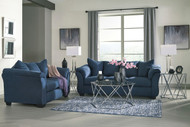 Darcy Blue Sofa, Loveseat & Madanere Table Set