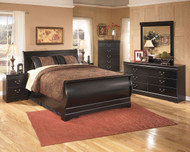 Huey Vineyard Black 7 Pc. Dresser, Mirror, Queen Sleigh Bed & 2 Nightstands