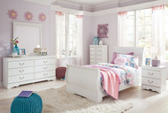 Anarasia White 5 Pc. Dresser, Mirror & Twin Sleigh Bed