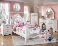 Exquisite White 5 Pc. Dresser, French Style Mirror, Chest & Twin Padded Poster Bed