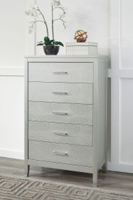 Olivet Silver Five Drawer Chest