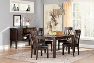 Haddigan Dark Brown 6 Pc. Rectangular Dining Room Extension Table, 4 Upholstered Side Chairs & Server