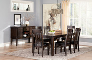 Haddigan Dark Brown 8 Pc. Rectangular Dining Room Extension Table, 6 Upholstered Side Chairs & Server