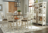 Bolanburg Two-tone 9 Pc. Round Drop Leaf Counter Table, 6 UPH Barstools & 2 Display Cabinets