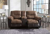 Follett Coffee Double Rec Loveseat with Console
