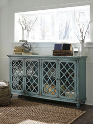 Mirimyn Antique Teal Door Accent Cabinet