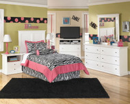 Bostwick Shoals White Dresser, Mirror & Twin Panel Headboard