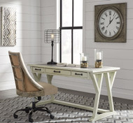 Jonileene White/Gray Large Leg Desk & Swivel Chair