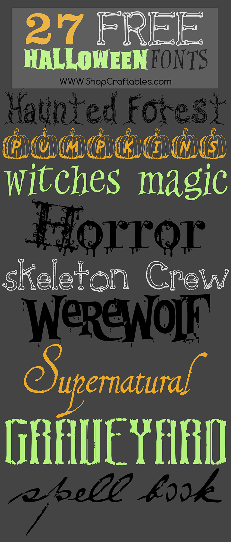 Free Halloween Fonts | Cricut and Silhouette | Craftables