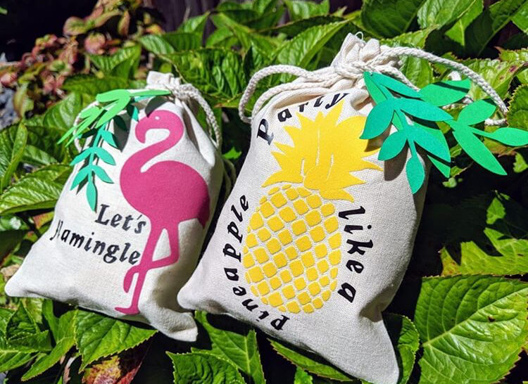 summery pineapple flamingo party favor