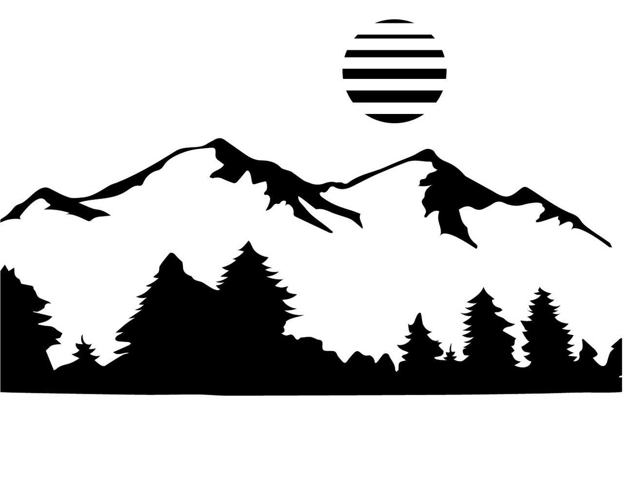 Free mountain svg cut file craftables Mountain silhouette