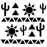 Southwestern inspired cut file includes cacti, suns and triangles